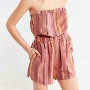 Urban Outfitters Striped Tube Romper Pink Gold